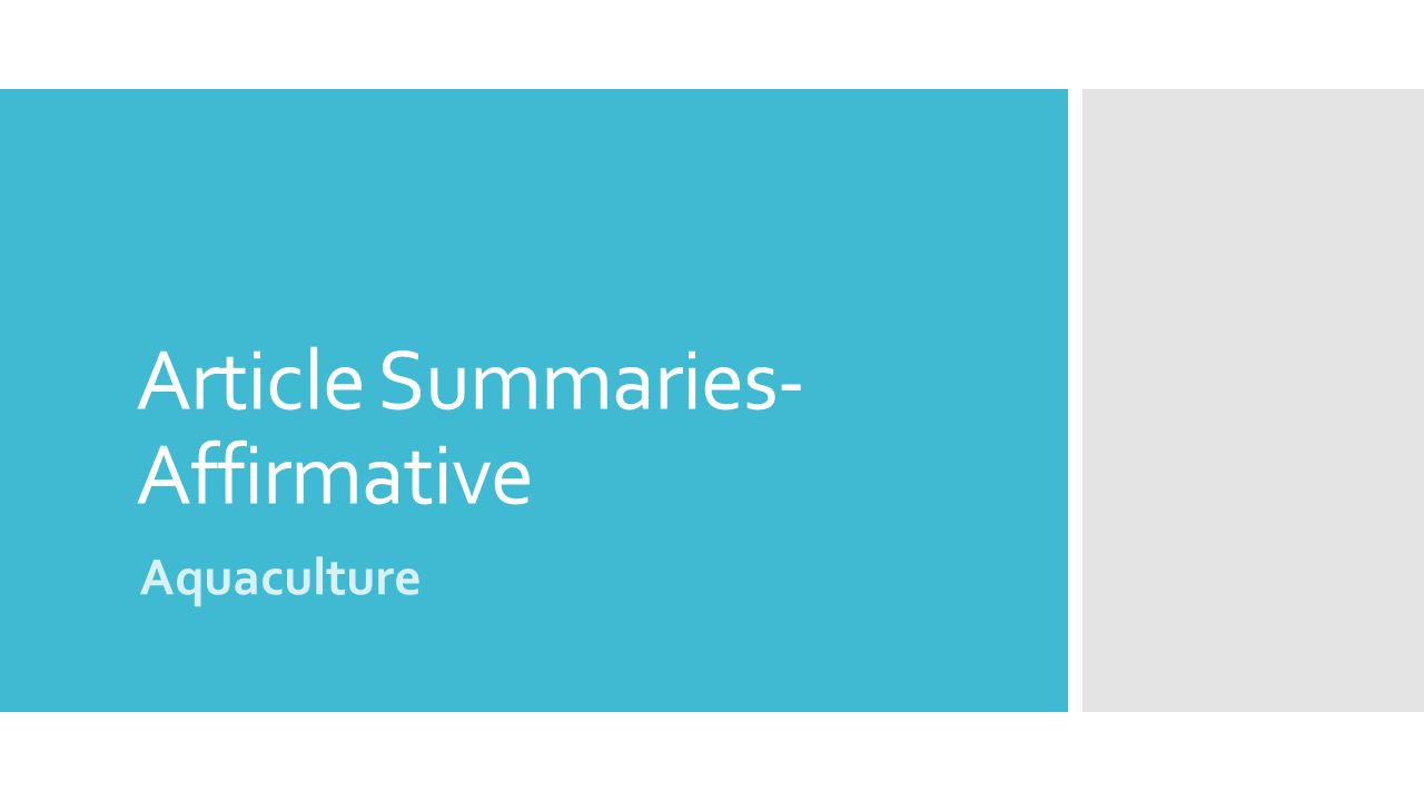 Article Summaries- Affirmative Aquaculture