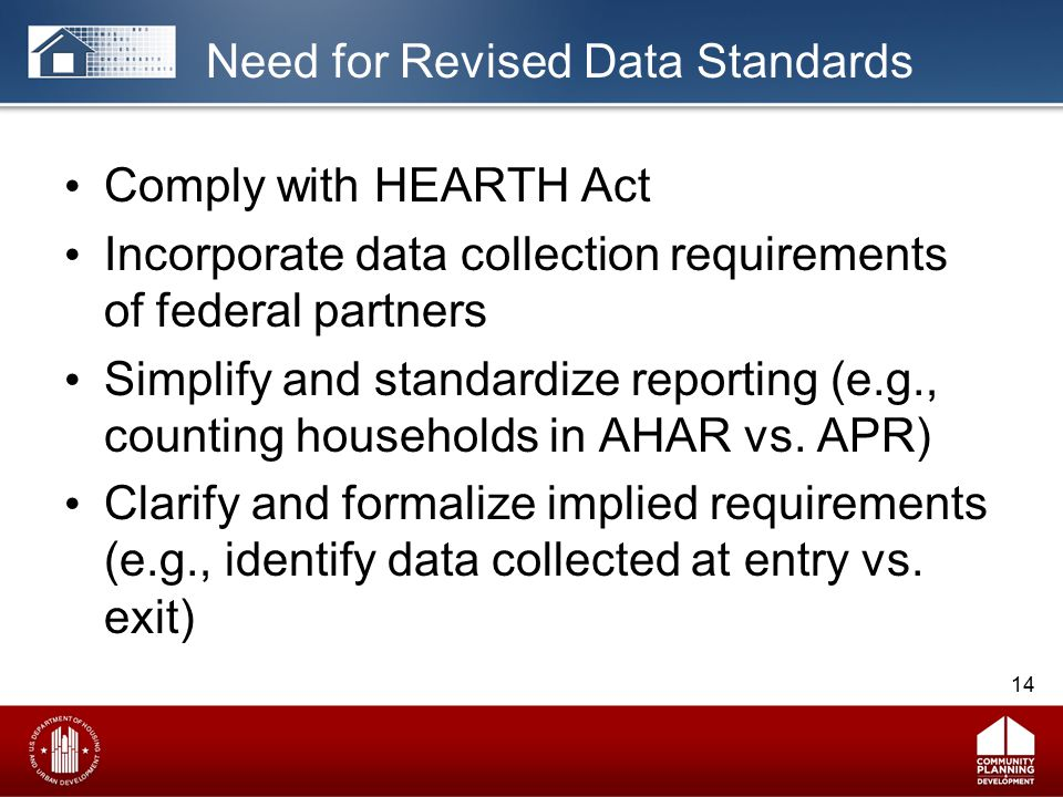 Need for Revised Data Standards Comply with HEARTH Act Incorporate data collection requirements of federal partners Simplify and standardize reporting (e.g., counting households in AHAR vs.
