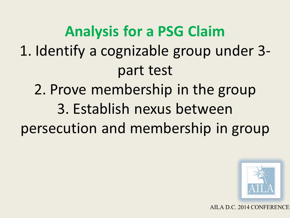 Analysis for a PSG Claim 1. Identify a cognizable group under 3- part test 2.