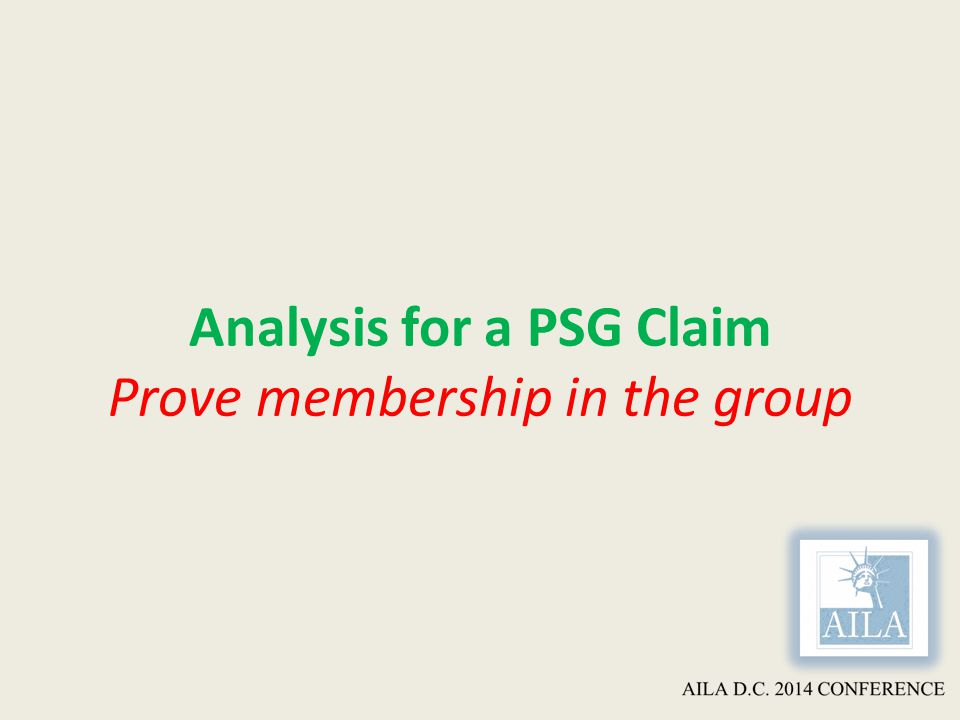 Analysis for a PSG Claim Prove membership in the group