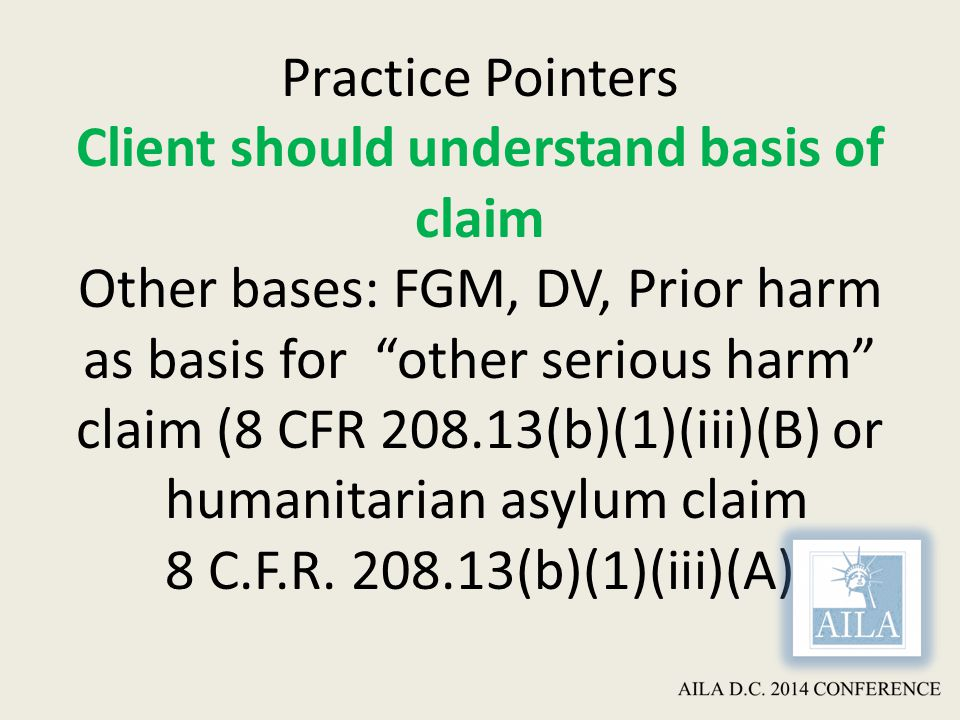 Practice Pointers Client should understand basis of claim Other bases: FGM, DV, Prior harm as basis for other serious harm claim (8 CFR 208.13(b)(1)(iii)(B) or humanitarian asylum claim 8 C.F.R.