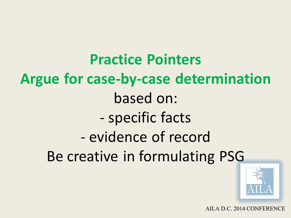 Practice Pointers Argue for case-by-case determination based on: - specific facts - evidence of record Be creative in formulating PSG