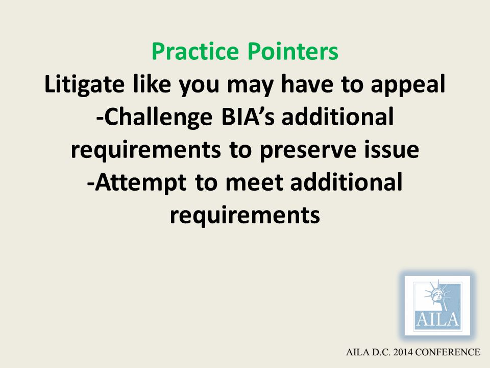 Practice Pointers Litigate like you may have to appeal -Challenge BIA's additional requirements to preserve issue -Attempt to meet additional requirements