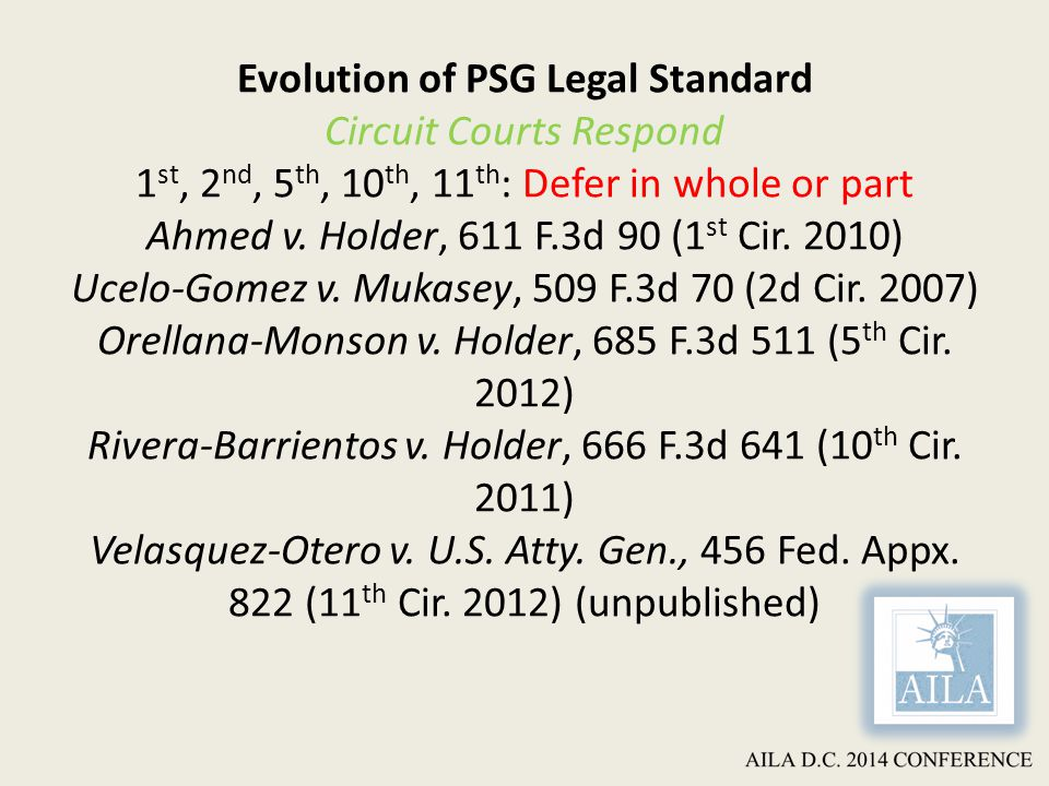 Evolution of PSG Legal Standard Circuit Courts Respond 1 st, 2 nd, 5 th, 10 th, 11 th : Defer in whole or part Ahmed v.