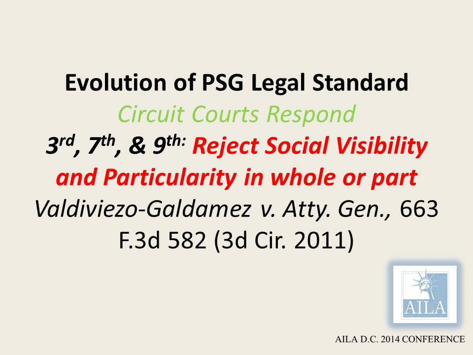 Evolution of PSG Legal Standard Circuit Courts Respond 3 rd, 7 th, & 9 th: Reject Social Visibility and Particularity in whole or part Valdiviezo-Galdamez v.