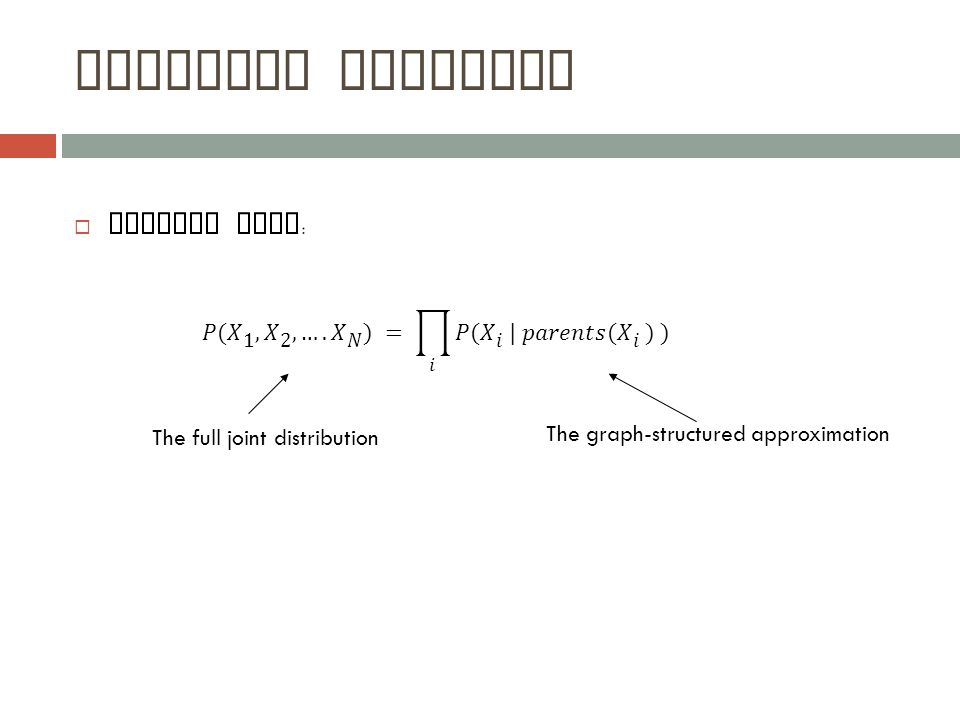 Bayesian Networks  General form : The full joint distribution The graph-structured approximation