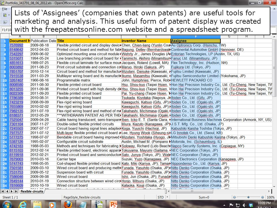 Lists of 'Assignees' (companies that own patents) are useful tools for marketing and analysis.