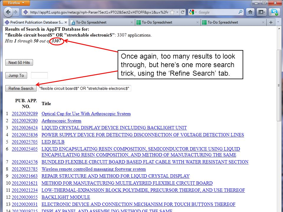 Once again, too many results to look through, but here's one more search trick, using the 'Refine Search' tab.
