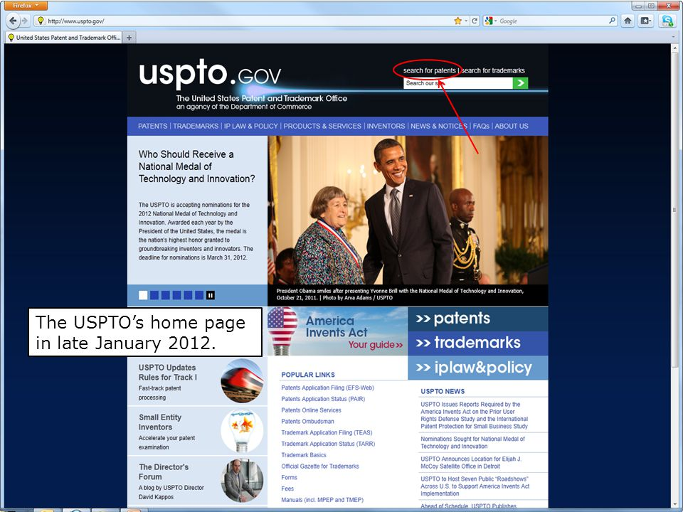 9 The USPTO's home page in late January 2012.