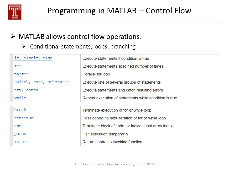 Programming in MATLAB – Control Flow  MATLAB allows control flow operations:  Conditional statements, loops, branching Djordje Gligorijevic, Temple