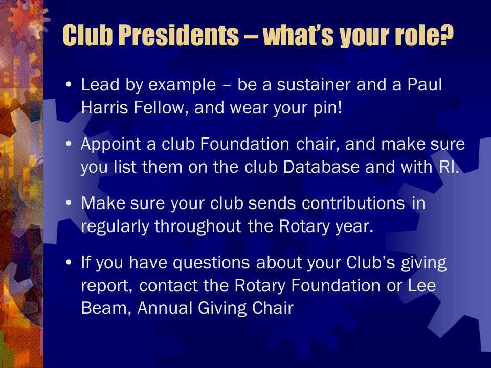 Club Presidents – what's your role.