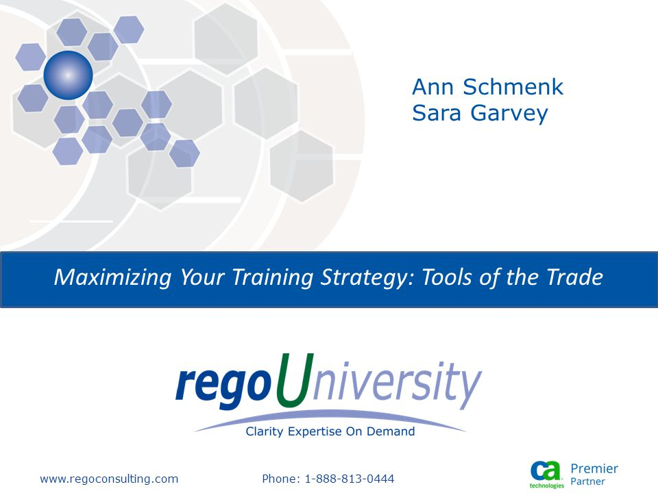 www.regoconsulting.comPhone: 1-888-813-0444 Maximizing Your Training Strategy: Tools of the Trade Ann Schmenk Sara Garvey