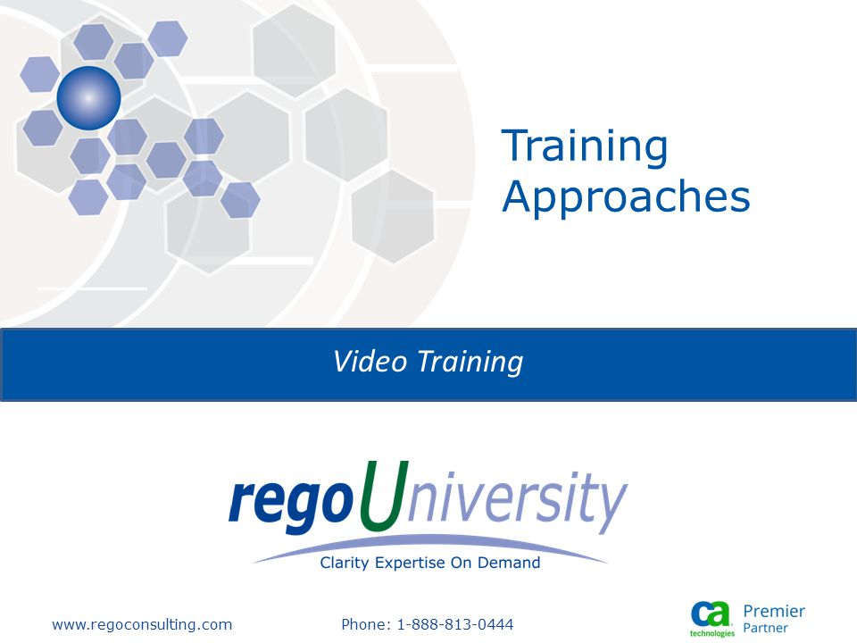 www.regoconsulting.comPhone: 1-888-813-0444 Training Approaches Video Training