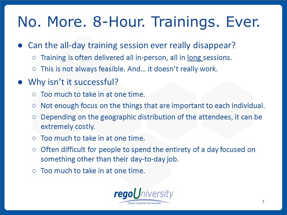 www.regoconsulting.comPhone: 1-888-813-0444 38 ● Video intros to Clarity ○ General Nav ○ Time Entry ○ Other simple topics ● In-Person, Role-based training, if possible.