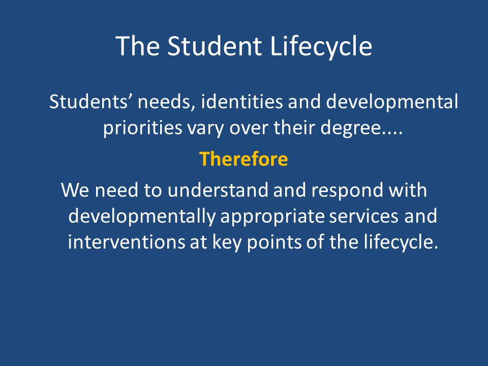 The Student Lifecycle Students' needs, identities and developmental priorities vary over their degree.... Therefore We need to understand and respond
