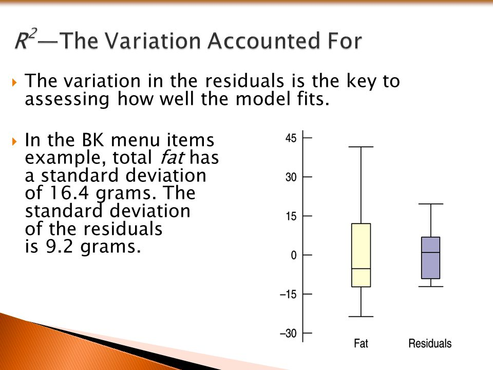  The variation in the residuals is the key to assessing how well the model fits.