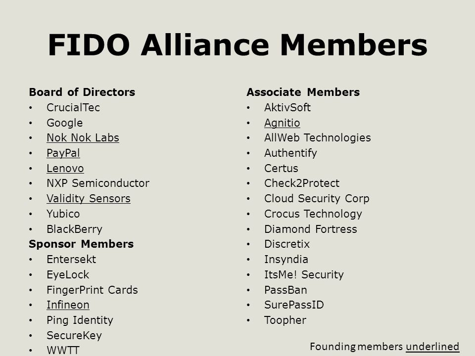 FIDO Alliance Members Board of Directors CrucialTec Google Nok Nok Labs PayPal Lenovo NXP Semiconductor Validity Sensors Yubico BlackBerry Sponsor Members Entersekt EyeLock FingerPrint Cards Infineon Ping Identity SecureKey WWTT Associate Members AktivSoft Agnitio AllWeb Technologies Authentify Certus Check2Protect Cloud Security Corp Crocus Technology Diamond Fortress Discretix Insyndia ItsMe.