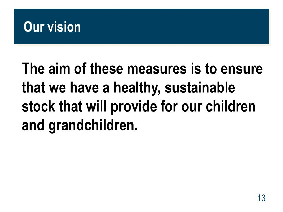 www.mpi.govt.nz 13 Our vision The aim of these measures is to ensure that we have a healthy, sustainable stock that will provide for our children and grandchildren.