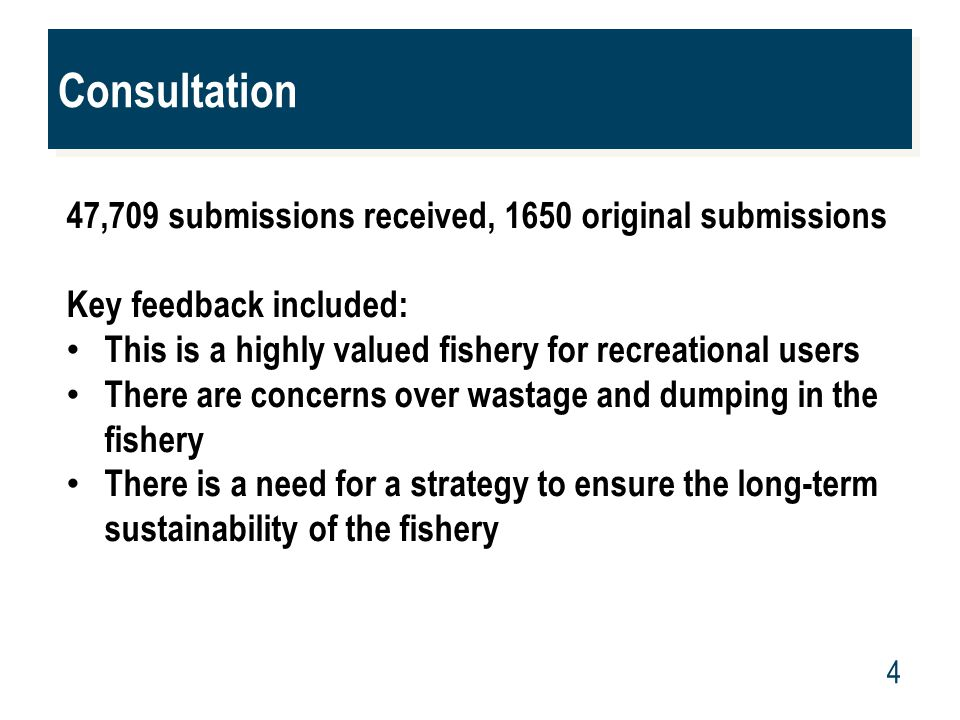 www.mpi.govt.nz 4 Consultation 47,709 submissions received, 1650 original submissions Key feedback included: This is a highly valued fishery for recre