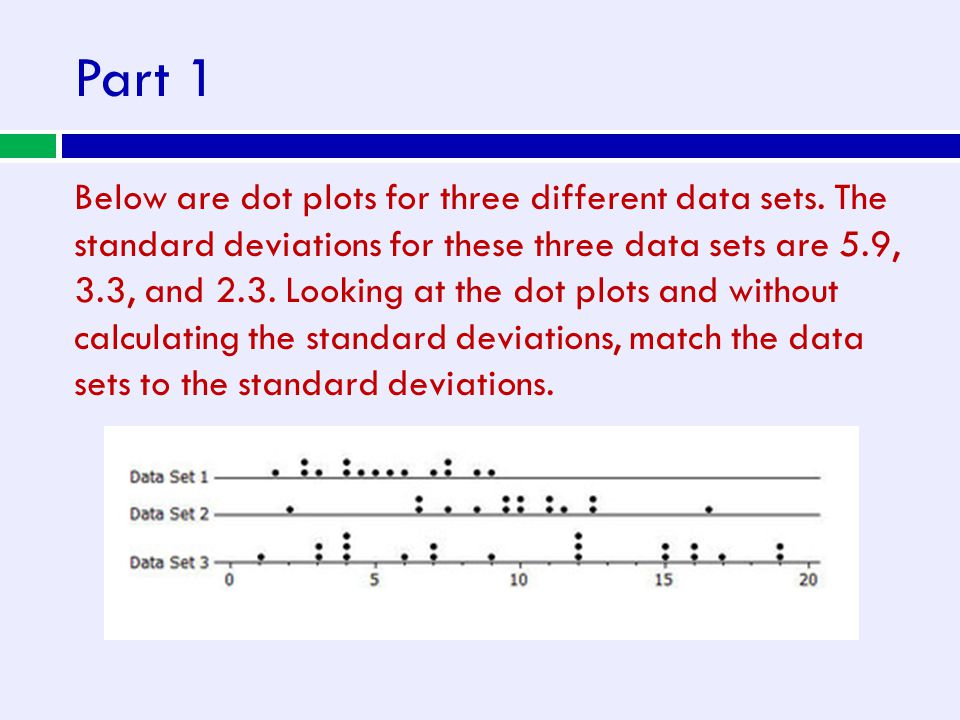 Part 1 Below are dot plots for three different data sets. The standard deviations for these three data sets are 5.9, 3.3, and 2.3. Looking at the dot