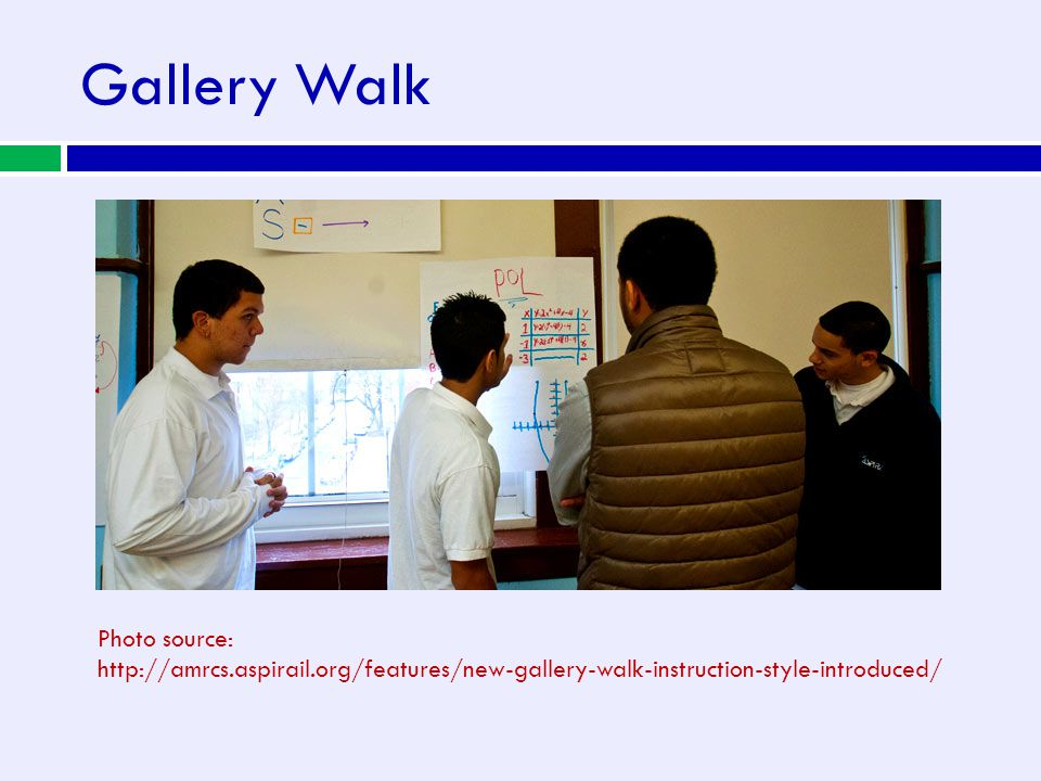Gallery Walk Photo source: http://amrcs.aspirail.org/features/new-gallery-walk-instruction-style-introduced/