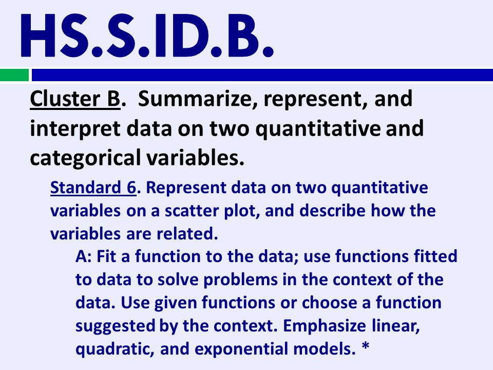 Cluster B. Summarize, represent, and interpret data on two quantitative and categorical variables. Standard 6. Represent data on two quantitative vari
