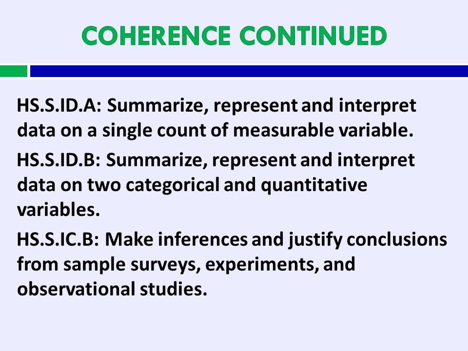 HS.S.ID.A: Summarize, represent and interpret data on a single count of measurable variable. HS.S.ID.B: Summarize, represent and interpret data on two