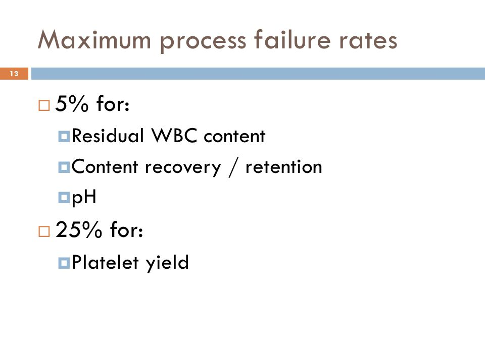 Maximum process failure rates  5% for:  Residual WBC content  Content recovery / retention  pH  25% for:  Platelet yield 13