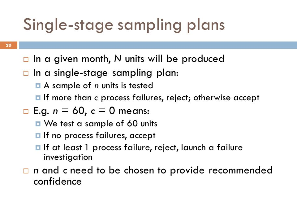 Single-stage sampling plans  In a given month, N units will be produced  In a single-stage sampling plan:  A sample of n units is tested  If more than c process failures, reject; otherwise accept  E.g.
