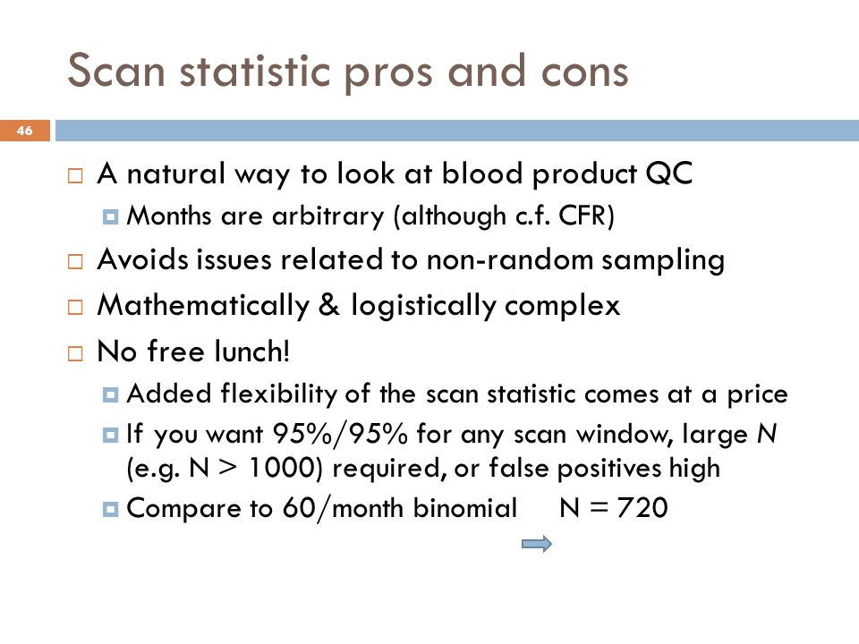Scan statistic pros and cons  A natural way to look at blood product QC  Months are arbitrary (although c.f.