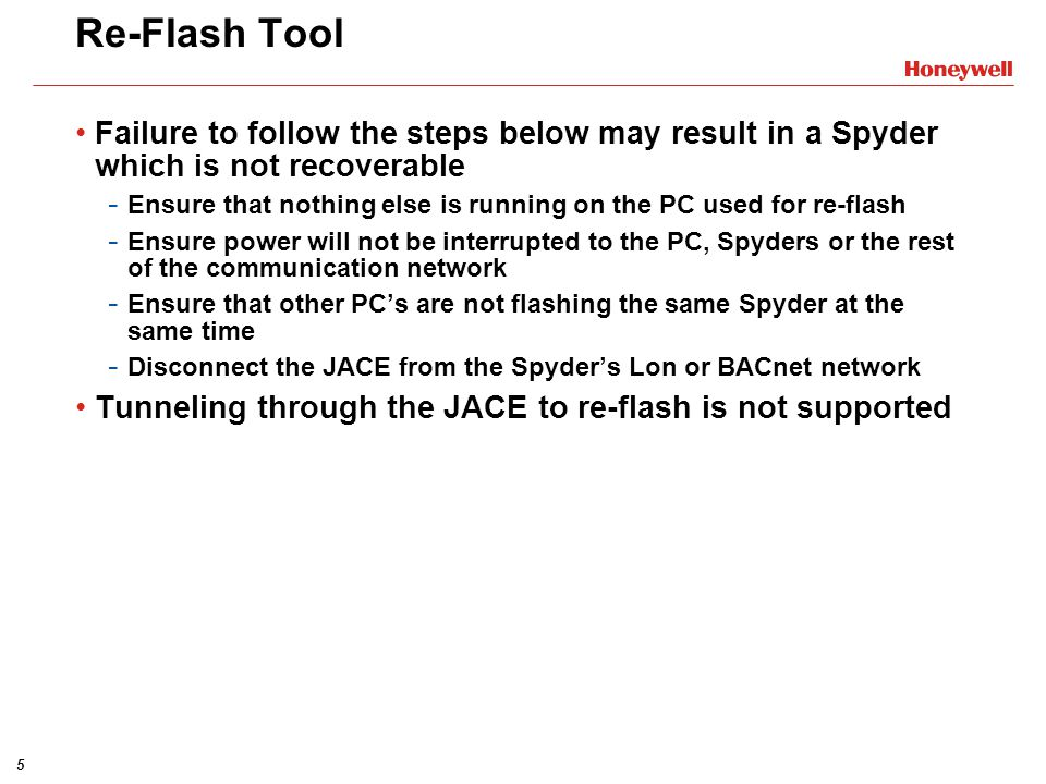 16 Re-Flashing Spyder BACnet Other Information Select devices to be re-flashed.