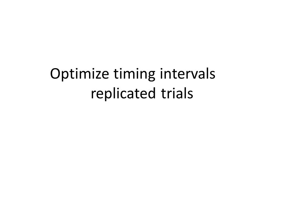 Optimize timing intervals replicated trials