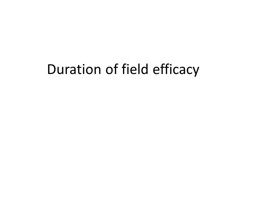 Duration of field efficacy – fireworm 2 nd generation Treatments were applied weekly ( 5/27 to 6/26) Which applications failed to provide control.