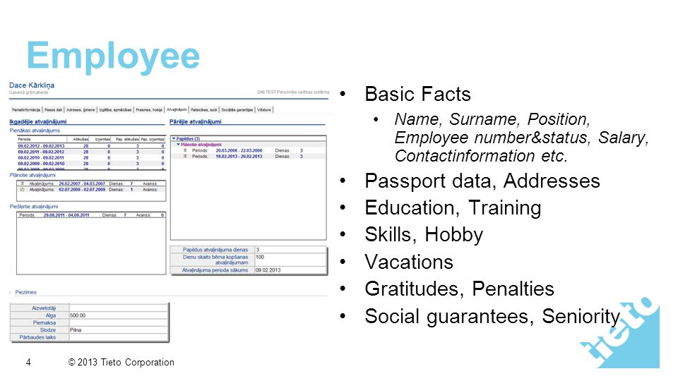© 2013 Tieto Corporation Employee Basic Facts Name, Surname, Position, Employee number&status, Salary, Contactinformation etc.