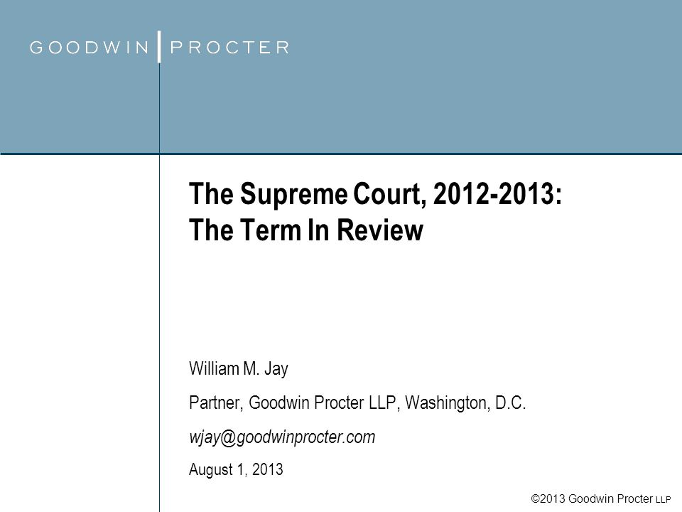 Goodwin Procter LLP 42 Shelby County v.