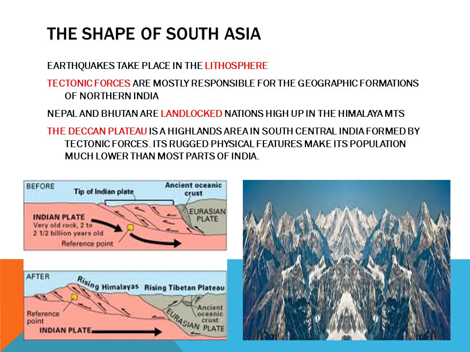 THE SHAPE OF SOUTH ASIA EARTHQUAKES TAKE PLACE IN THE LITHOSPHERE TECTONIC FORCES ARE MOSTLY RESPONSIBLE FOR THE GEOGRAPHIC FORMATIONS OF NORTHERN IND