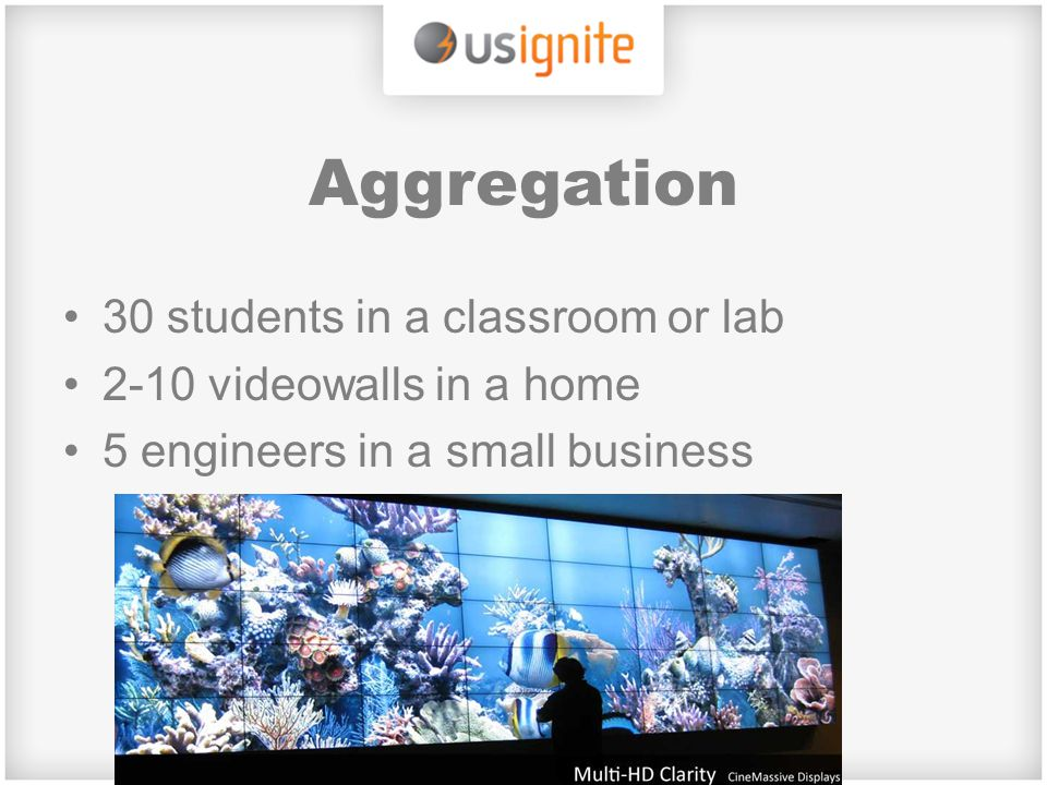 Aggregation 30 students in a classroom or lab 2-10 videowalls in a home 5 engineers in a small business