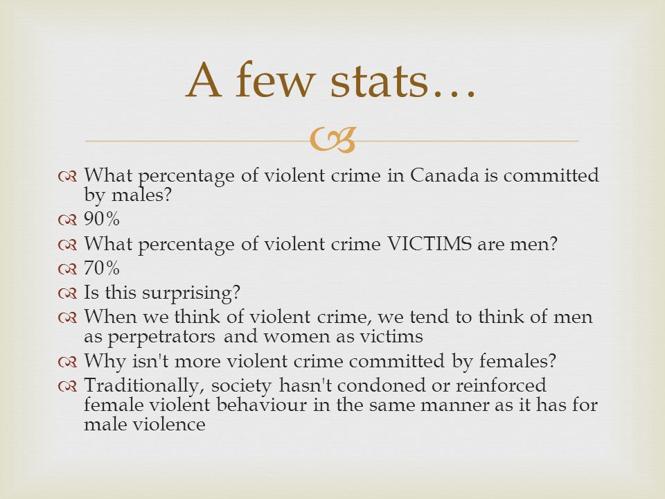   What percentage of violent crime in Canada is committed by males.
