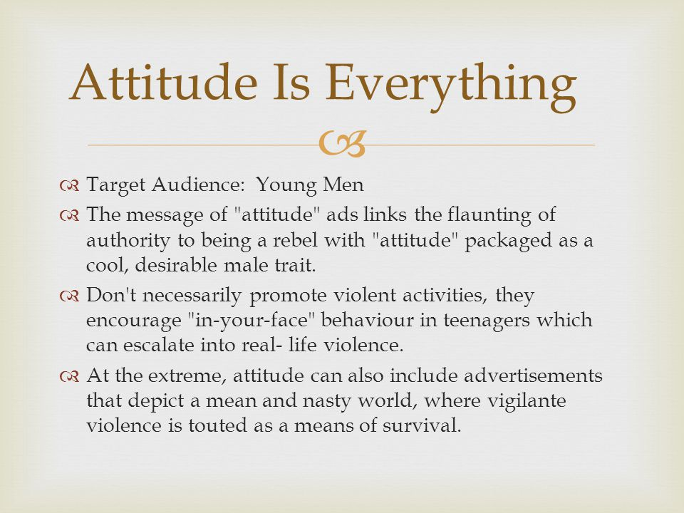   Target Audience: Young Men  The message of attitude ads links the flaunting of authority to being a rebel with attitude packaged as a cool, desirable male trait.