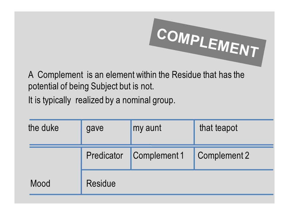 A Complement is an element within the Residue that has the potential of being Subject but is not. It is typically realized by a nominal group. the duk