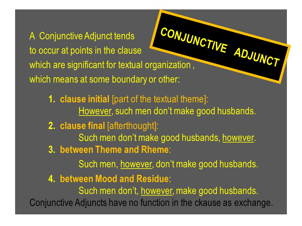 A Conjunctive Adjunct tends to occur at points in the clause which are significant for textual organization, which means at some boundary or other: 1.