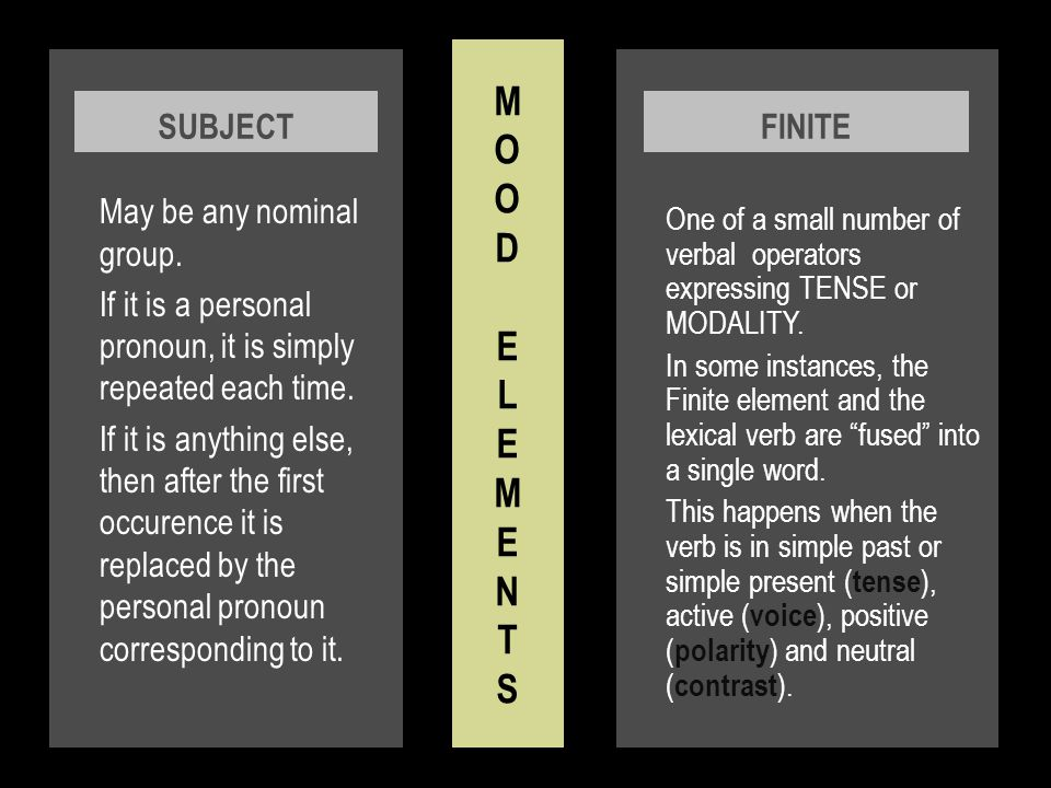 There are 2 groups of Modal Adjuncts in terms of their place in the mood structure: 1.