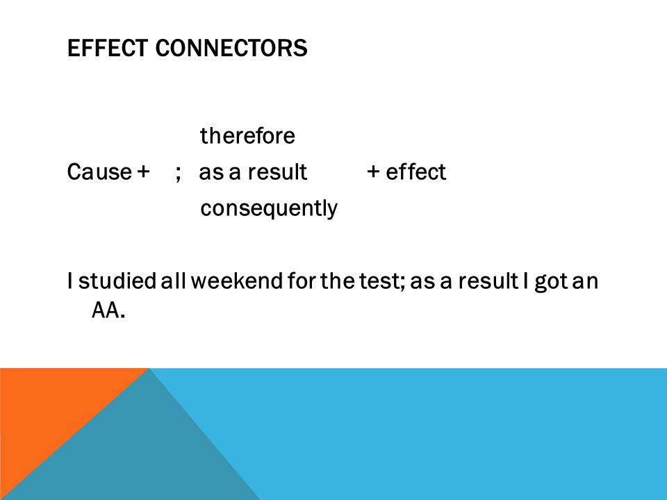 EFFECT CONNECTORS therefore Cause + ; as a result + effect consequently I studied all weekend for the test; as a result I got an AA.