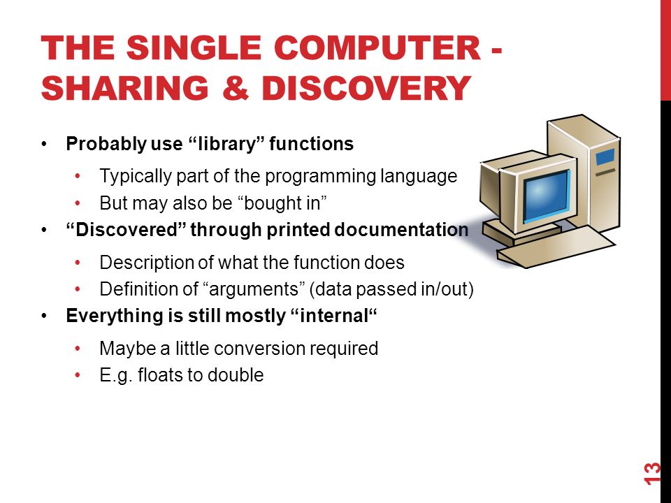 THE SINGLE COMPUTER - SHARING & DISCOVERY Probably use library functions Typically part of the programming language But may also be bought in Discovered through printed documentation Description of what the function does Definition of arguments (data passed in/out) Everything is still mostly internal Maybe a little conversion required E.g.