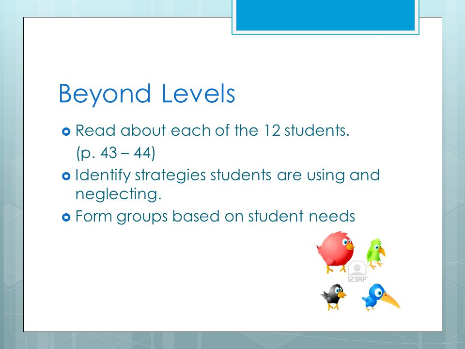 Beyond Levels  Read about each of the 12 students.