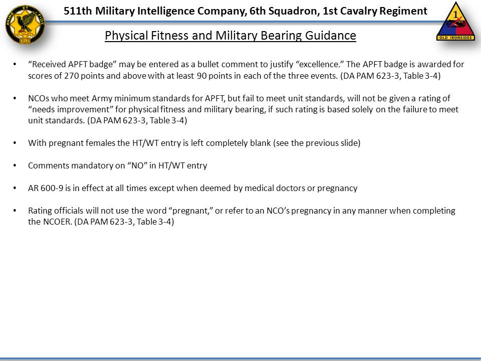 """511th Military Intelligence Company, 6th Squadron, 1st Cavalry Regiment Physical Fitness and Military Bearing Guidance """"Received APFT badge"""" may be en"""