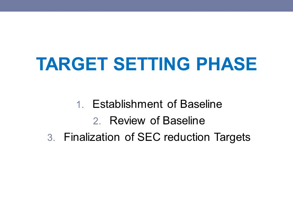 TARGET SETTING PHASE 1. Establishment of Baseline 2.
