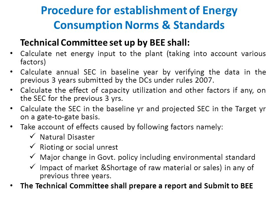 NOTIFICATION PHASE 1.Recommendation by BEE to Central Govt.