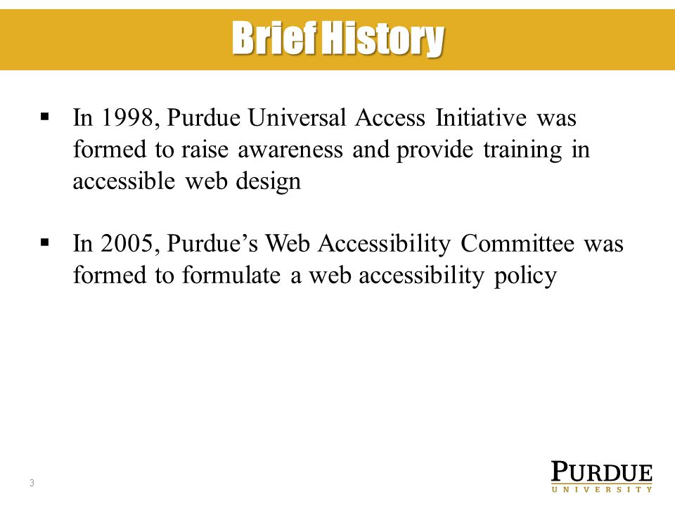 Brief History  In 1998, Purdue Universal Access Initiative was formed to raise awareness and provide training in accessible web design  In 2005, Purdue's Web Accessibility Committee was formed to formulate a web accessibility policy 3