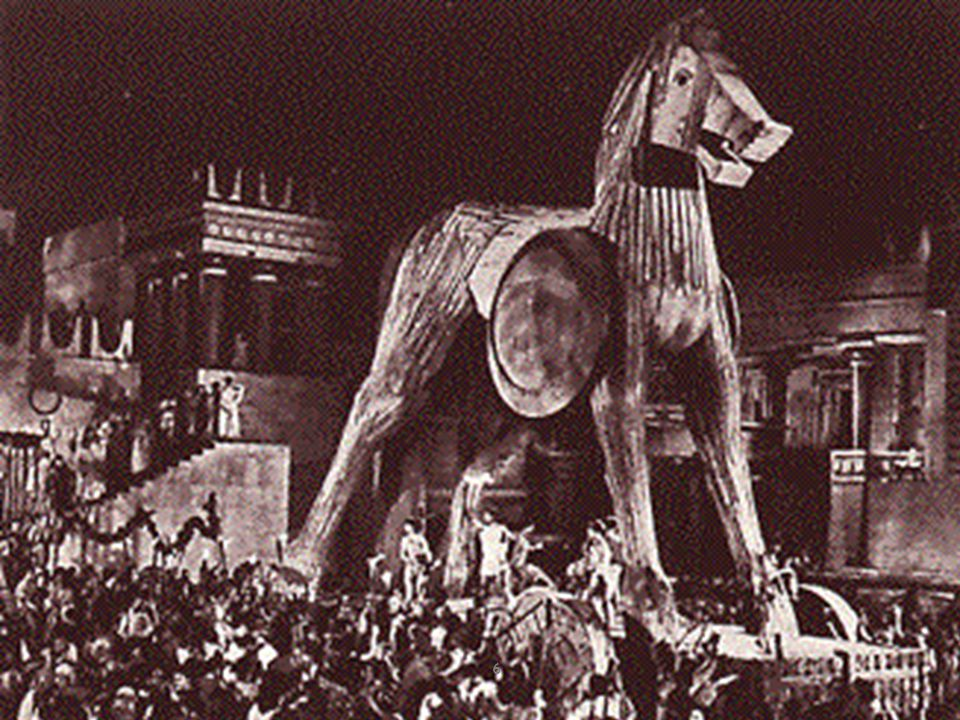 * The Trojan War was over (mid 1200s BC). The clever Greek Odysseus had tricked the enemy into bringing a colossal wooden horse within the walls of Tr